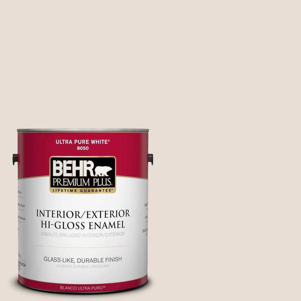 BEHR Premium Plus 1 gal. #73 Off White Hi-Gloss Enamel Interior/Exterior Paint