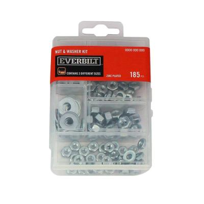 185-Piece Zinc-Plated Nuts and Washer Kit