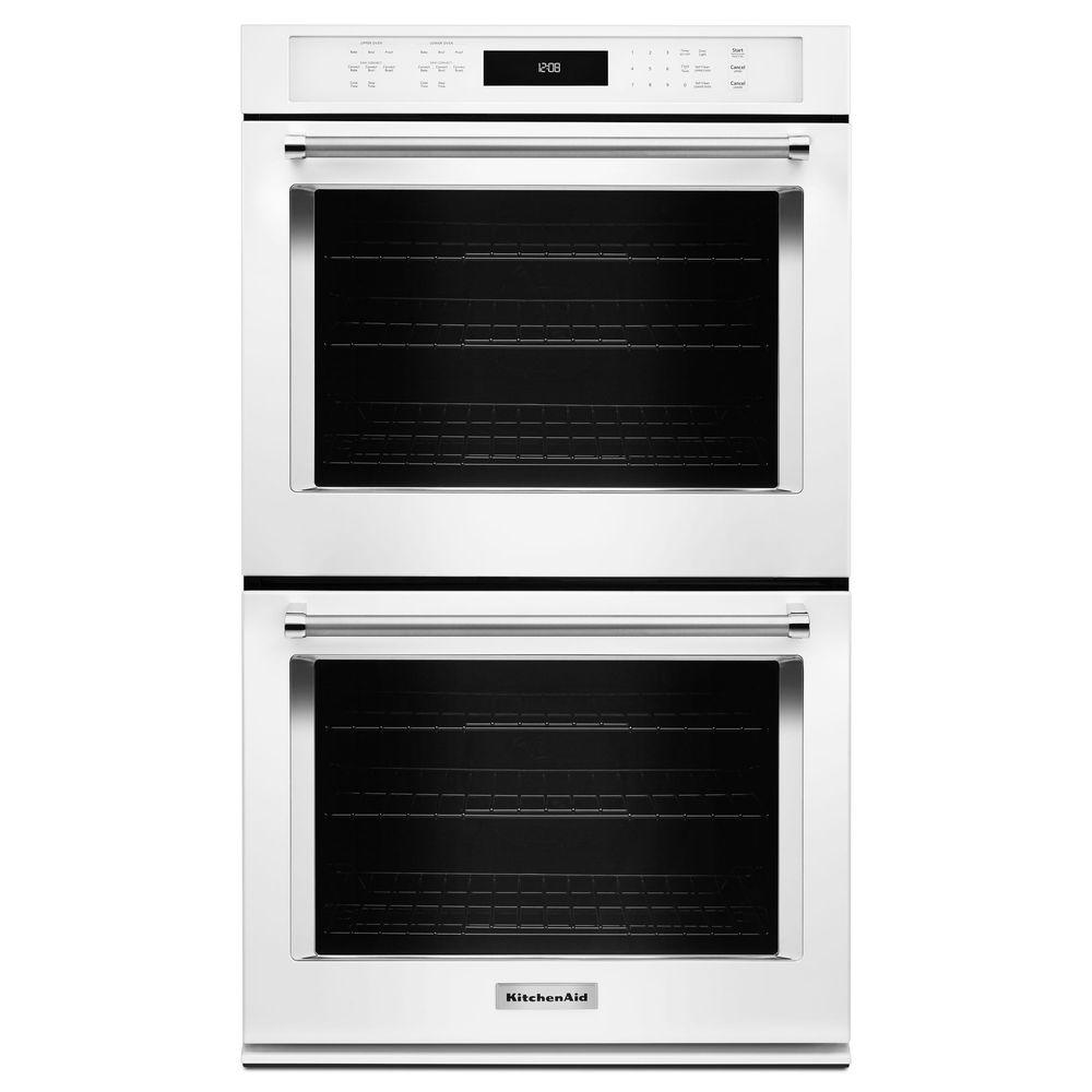 KitchenAid 30 in. Double Electric Wall Oven Self-Cleaning with Convection in White