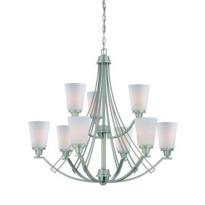 Wright 9-Light Matte Nickel Chandelier