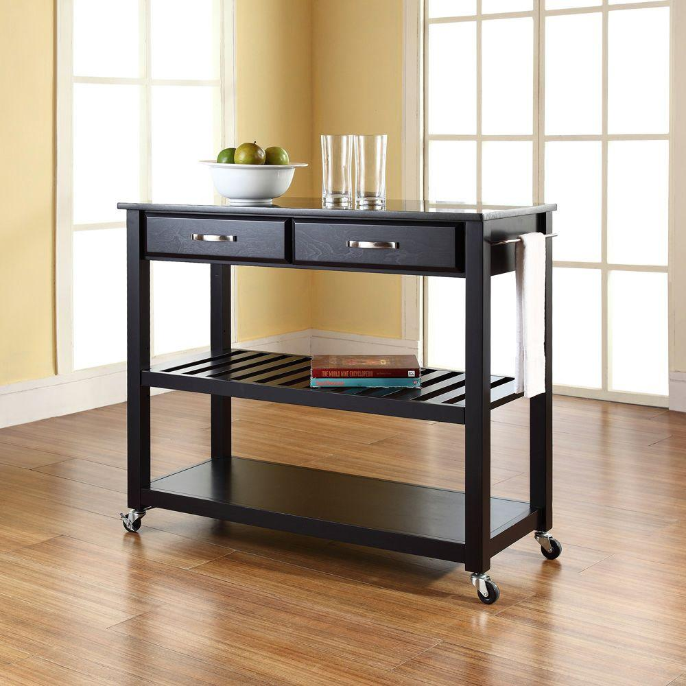 Crosley Black Kitchen Cart With Granite Top Kf30054bk The Home Depot