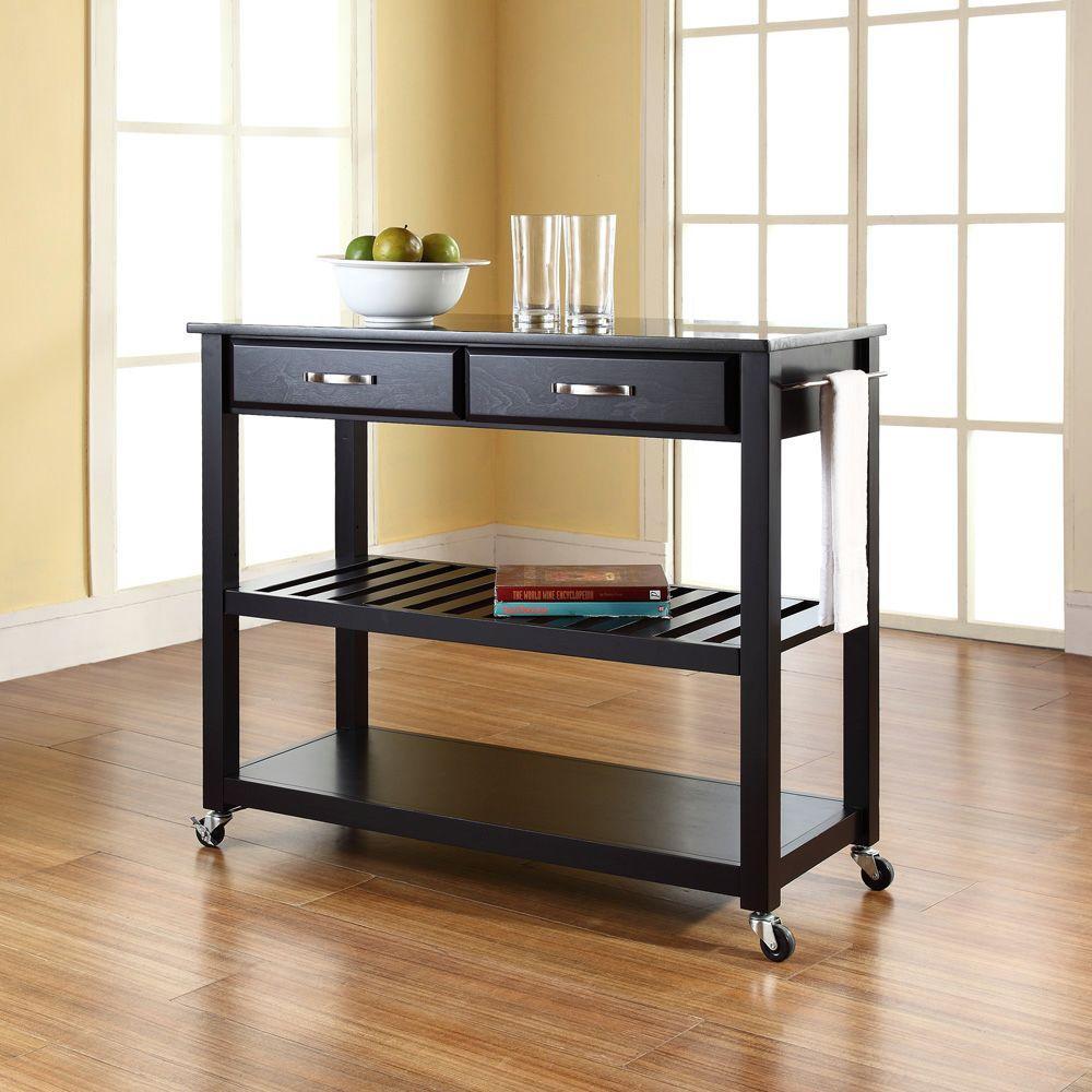 Black Kitchen Cart With Black Granite Top