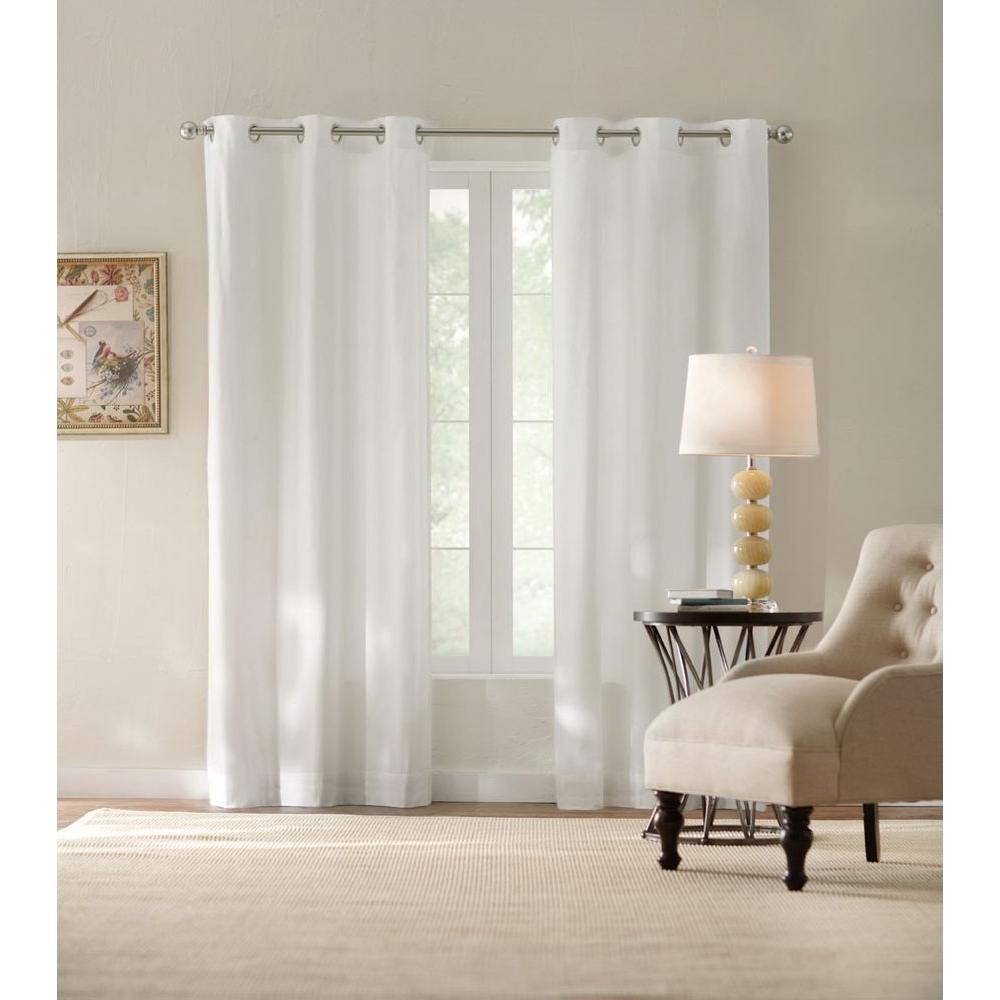 Semi-Opaque White Cotton Duck Grommet Curtain