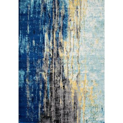 Katharina Modern Abstract Blue 5 ft. x 8 ft. Area Rug