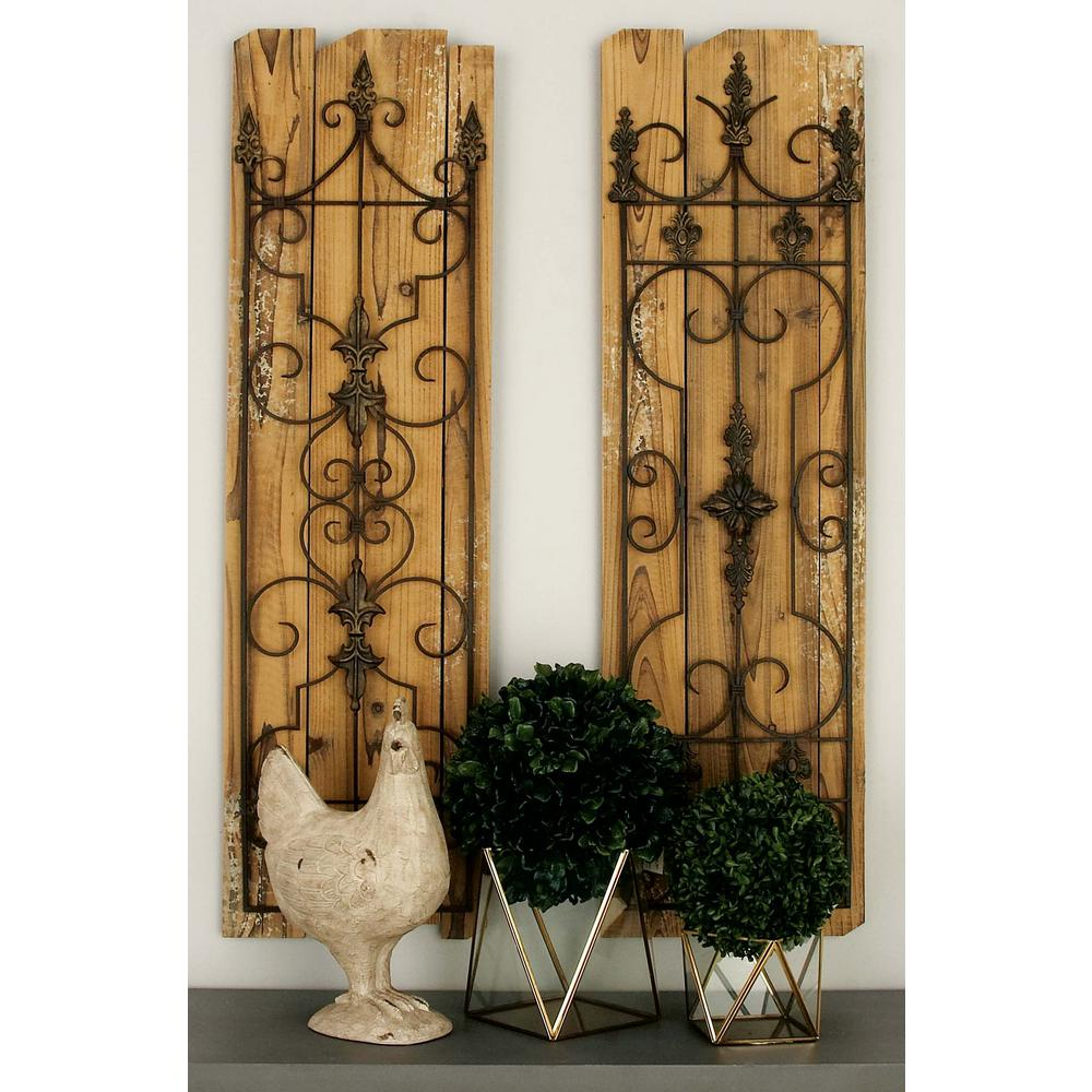 13 in. x 48 in. Classic Decorative Scrollwork Wall Plaque in