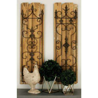 13 in. x 48 in. Classic Decorative Scrollwork Wall Plaque in Distressed Finish (2-Pack)