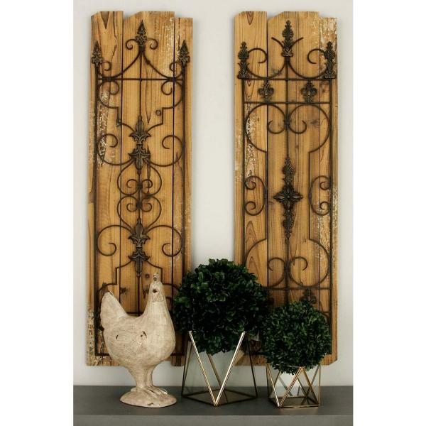 Litton Lane 13 in. x 48 in. Classic Decorative Scrollwork Wall
