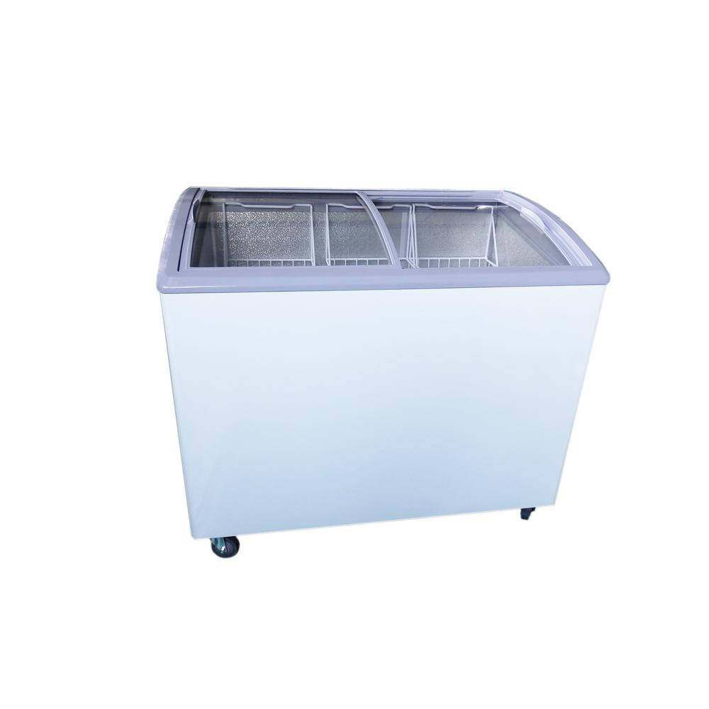 Chest Freezer With Curved Glass Top In White