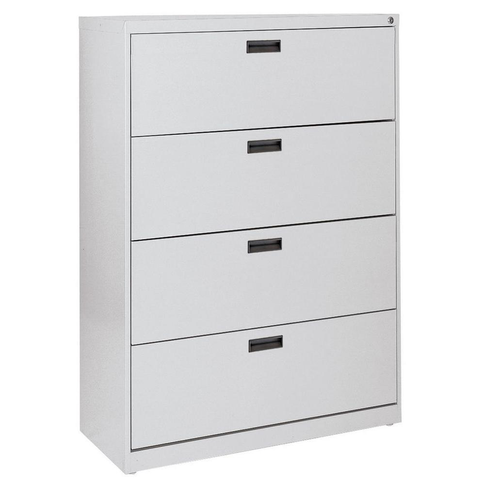 Sandusky Series Drawer Lateral File Cabinet In Dove Grey - 4 drawer steel filing cabinet
