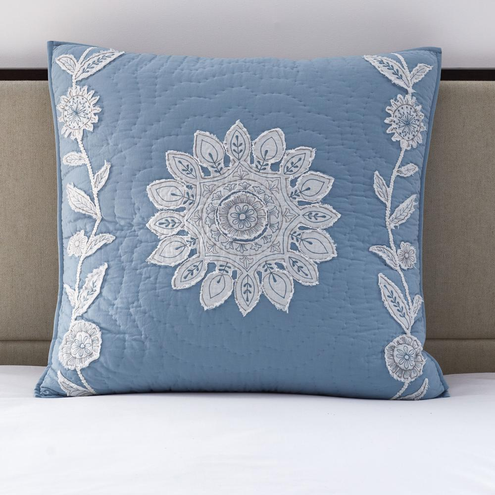 Floral Vine Blue Textured Cotton Embroidered Euro Sham
