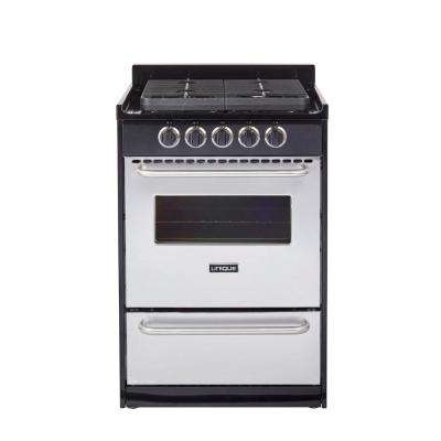 24 in. Signature 2.9 cu. ft. Propane Off-Grid Gas Range with Battery Ignition Sealed Burners in Stainless Steel