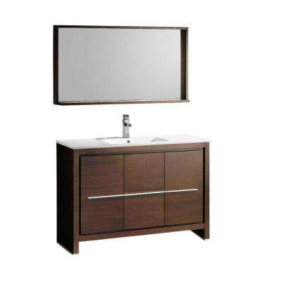 Allier 48 in. Vanity in Wenge Brown with Ceramic Vanity Top in White and Mirror