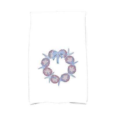 16 in. x 25 in. Blue SS Wreath Holiday Geometric Print Kitchen Towel