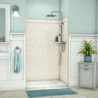 Elegance 36 in. x 48 in. x 80 in. 9-Piece Easy Up Adhesive Alcove Shower Wall Surround in Calabria