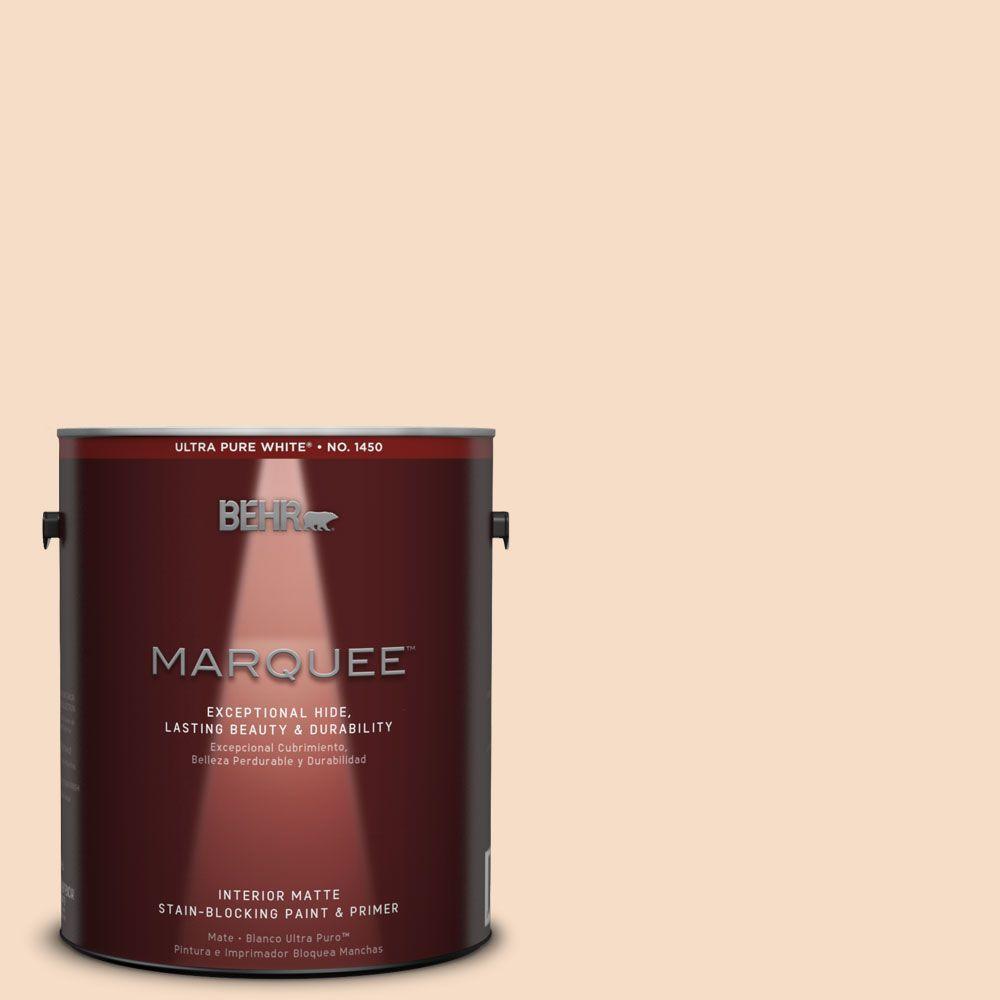 BEHR MARQUEE 1 gal. #HDC-SP14-3 Faint Peach Matte Interior Paint