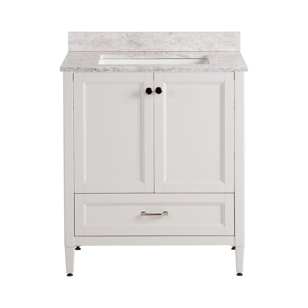 Home Decorators Collection Claxby 31 In W X 38 In H X 22 In D Bathroom Vanity In Cream With Stone Effects Vanity Top In Winter Mist Cb30wmp2com Cr The Home Depot