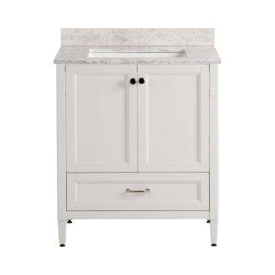 Claxby 31 in. W x 22 in. D Bath Vanity in Cream with Stone Effects Vanity Top in Winter Mist