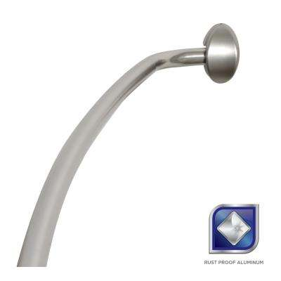 Rustproof 72 in. Adjustable Permanent Mount Curved Shower Rod in Satin Nickel