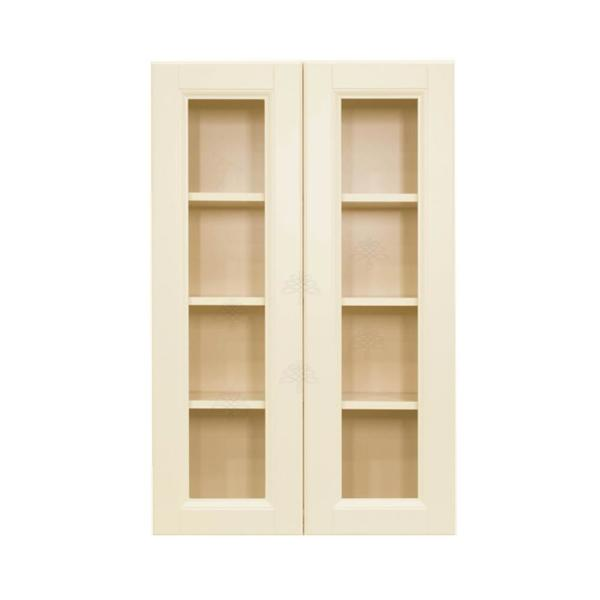 Lifeart Cabinetry Oxford Creamy White Plywood Glass Door Stock Assembled Wall Kitchen Cabinet 36 In W X 42 In H X 12 In D Ao Wmd3642 The Home Depot