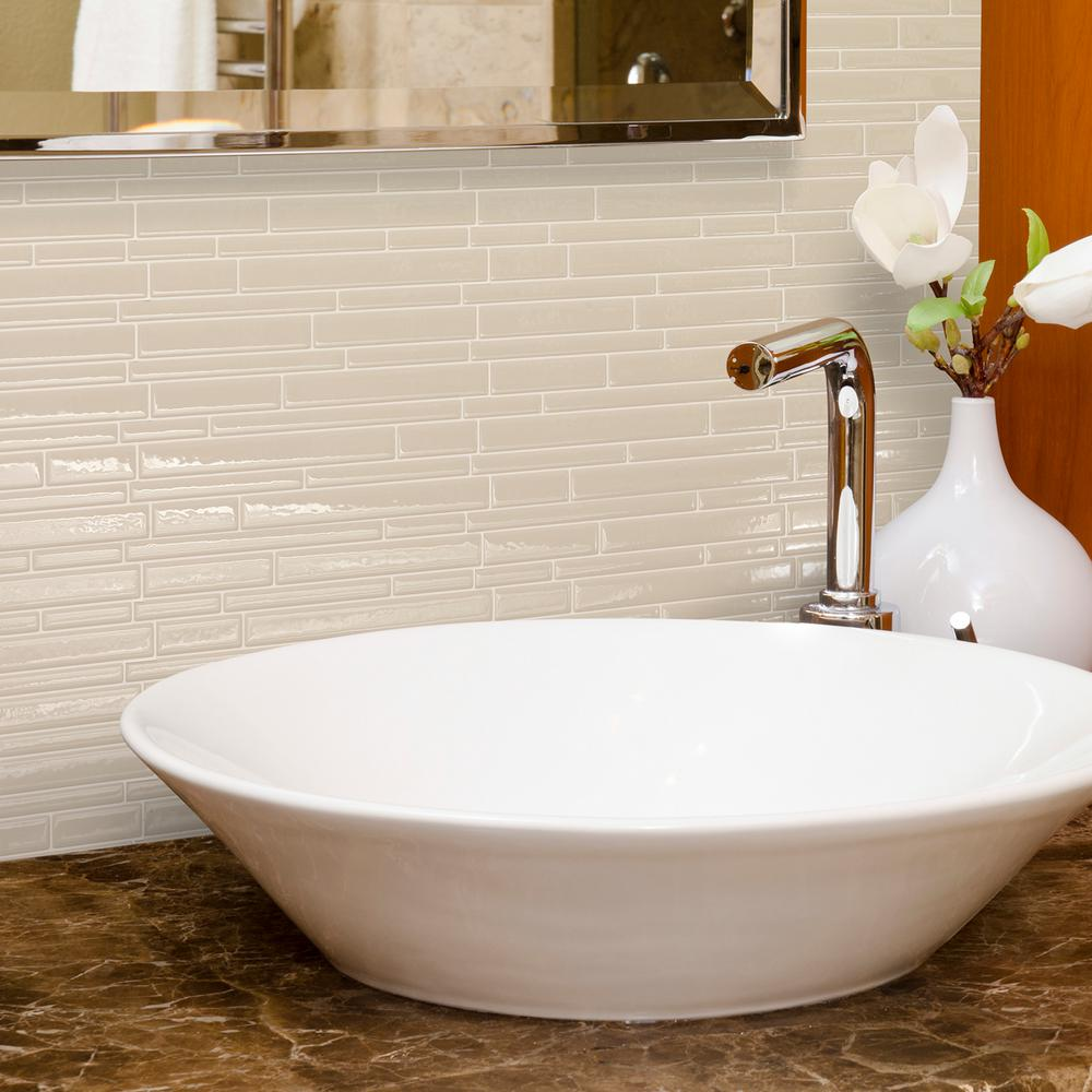 Stick on wall tiles bathroom - Smart Tiles Milano Crema 11 55 In W X 9 63 In H Peel And Stick Decorative Mosaic Wall Tile Backsplash 6 Pack Sm1084 6 The Home Depot