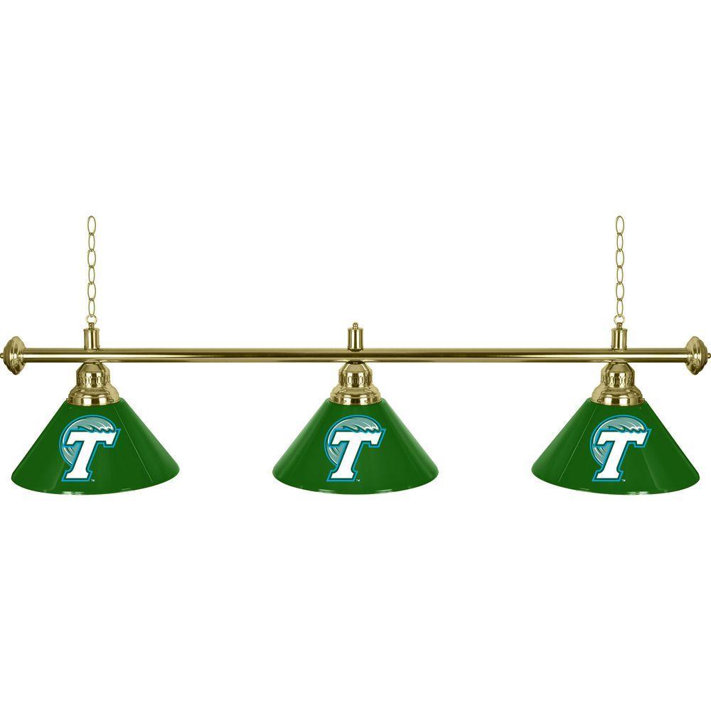 null Tulane University 60 in. Three Shade Stainless Steel Hanging Billiard Lamp