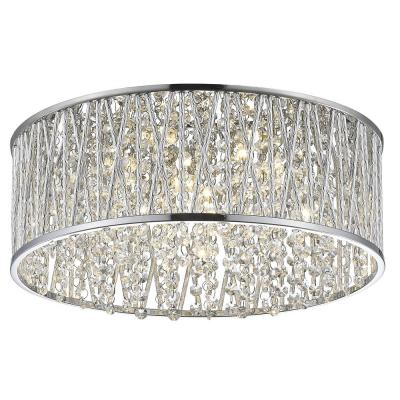 Collins Laser Cut Aluminum and Chrome and Crystal Integrated LED Flush Mount Light