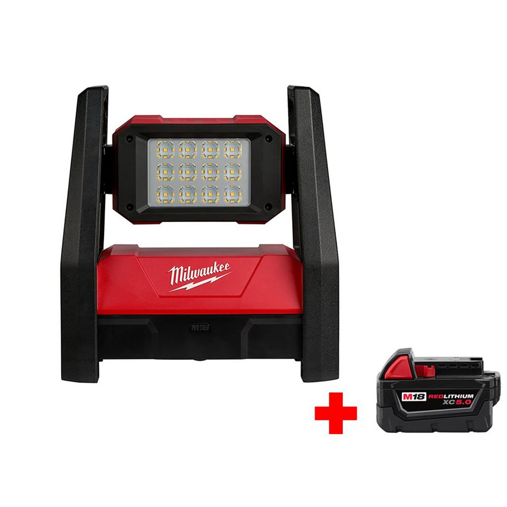 Milwaukee M18 18-Volt Lithium-Ion Cordless TRUEVIEW LED Flood Light with M18 18-Volt 5.0Ah Battery