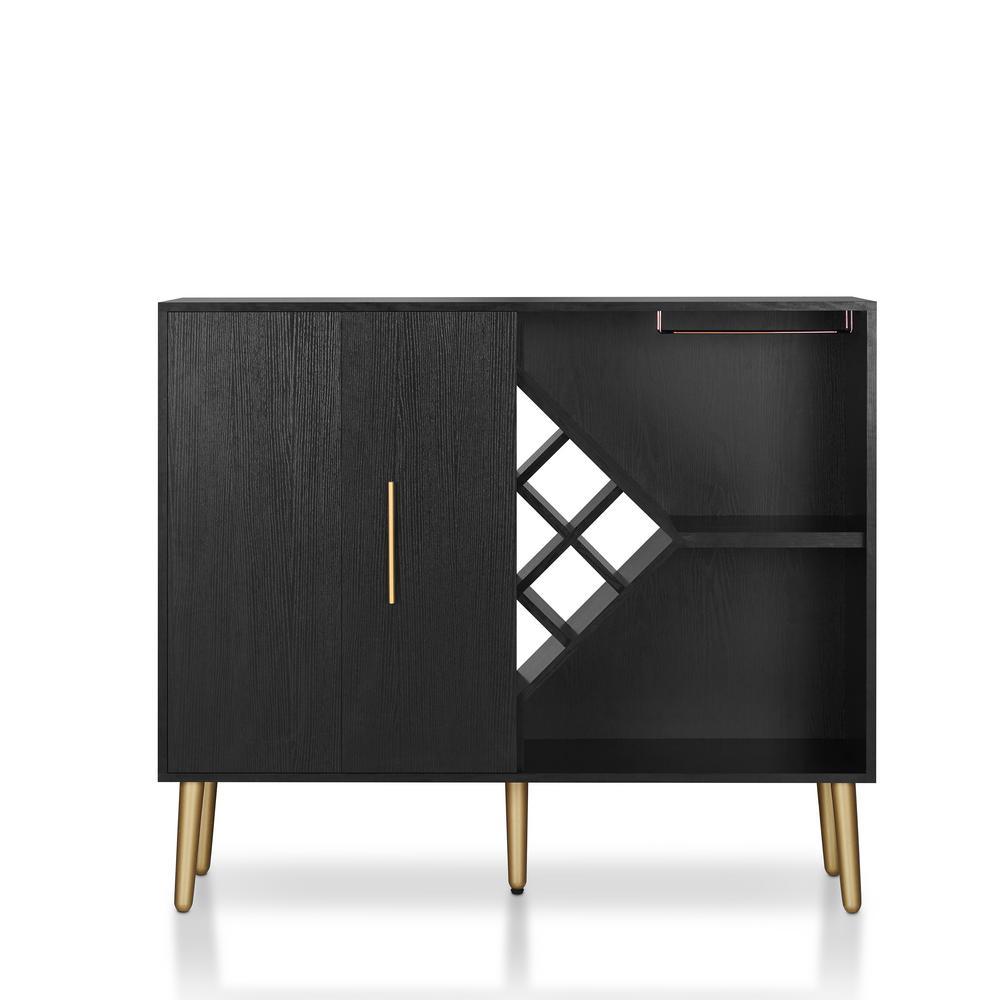 Furniture Of America Tarte 9 Bottle Black Wine Cabinet
