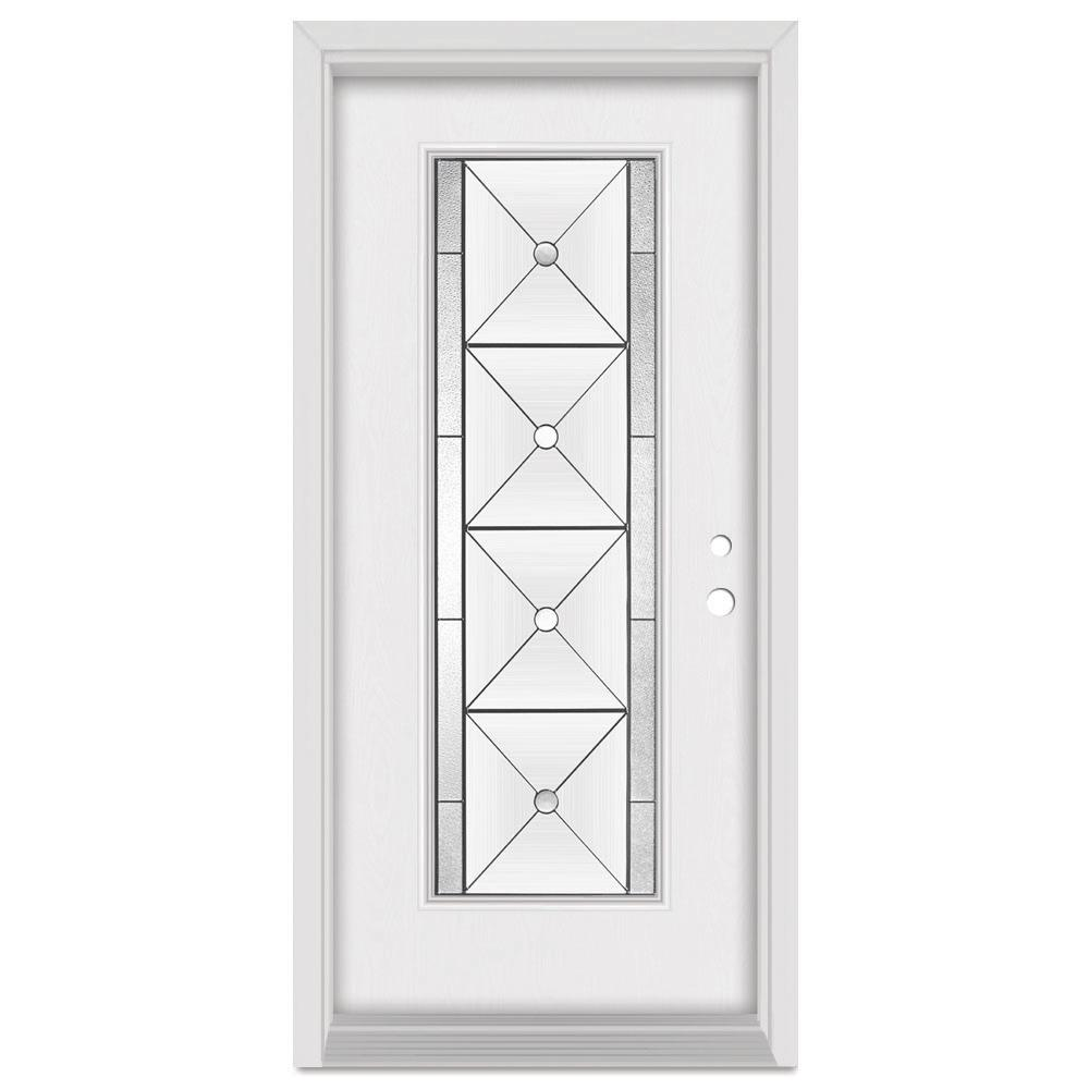 Stanley Doors 36 in. x 80 in. Bellochio Left-Hand Patina Finished Fiberglass Mahogany Woodgrain Prehung Front Door Brickmould