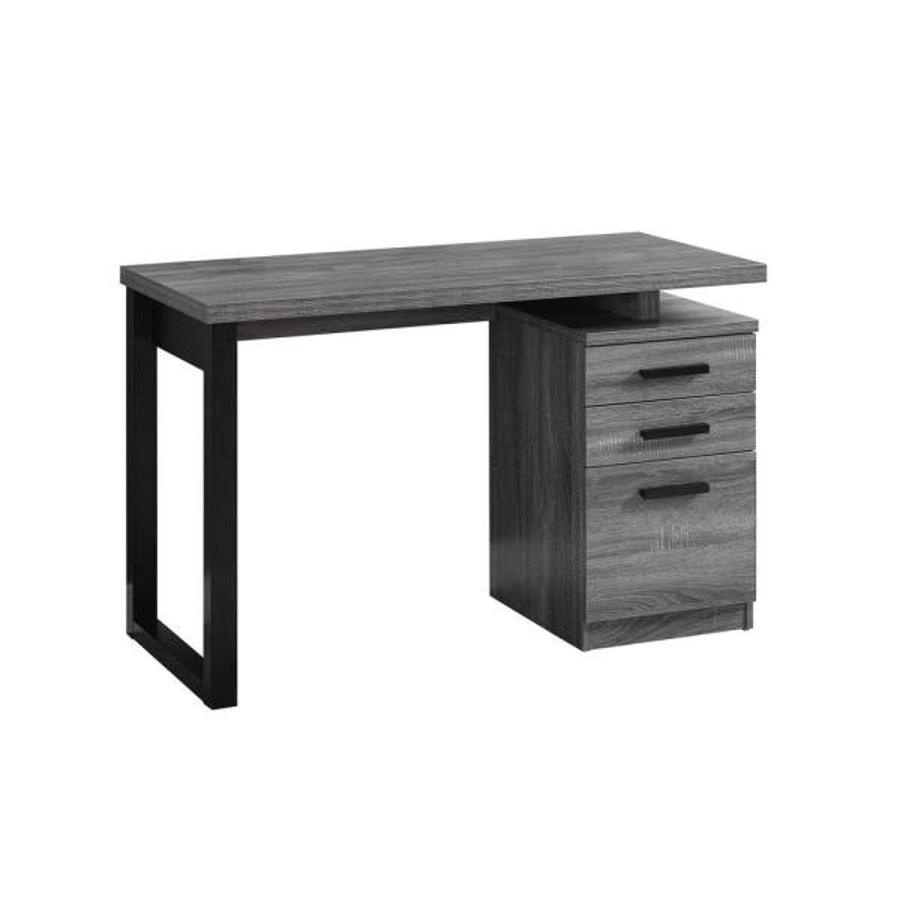 48 in. Rectangular Grey 3 Drawer Computer Desk with File Storage