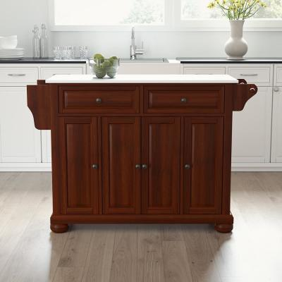 Alexandria Mahogany Full Size Kitchen Island/Cart with Granite Top