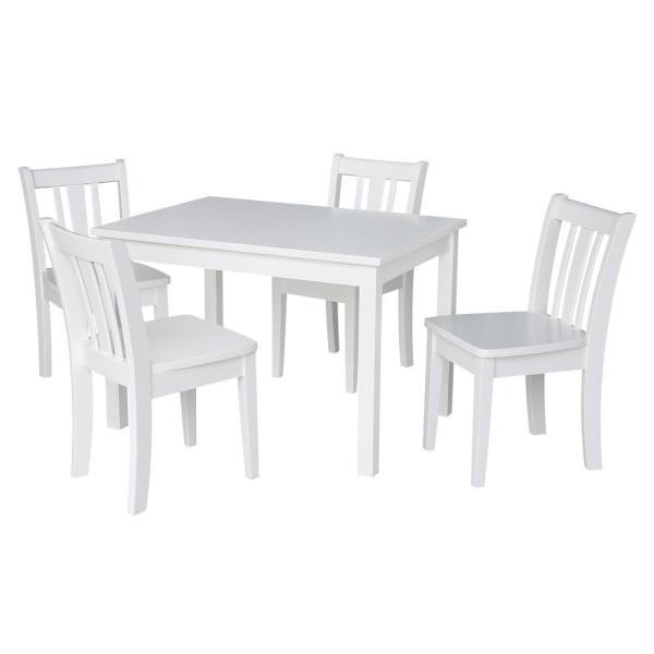 International Concepts Jorden White 5-Piece Kid's Table and Chair Set