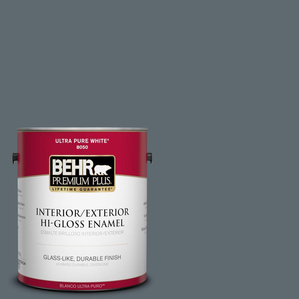 1-gal. #ECC-22-3 Rain Shadow Hi-Gloss Enamel Interior/Exterior Paint