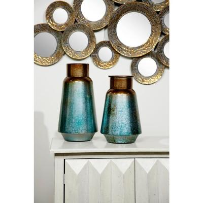 Bronze and Blue Gradient Round Metal Decorative Vases (Set of 2)