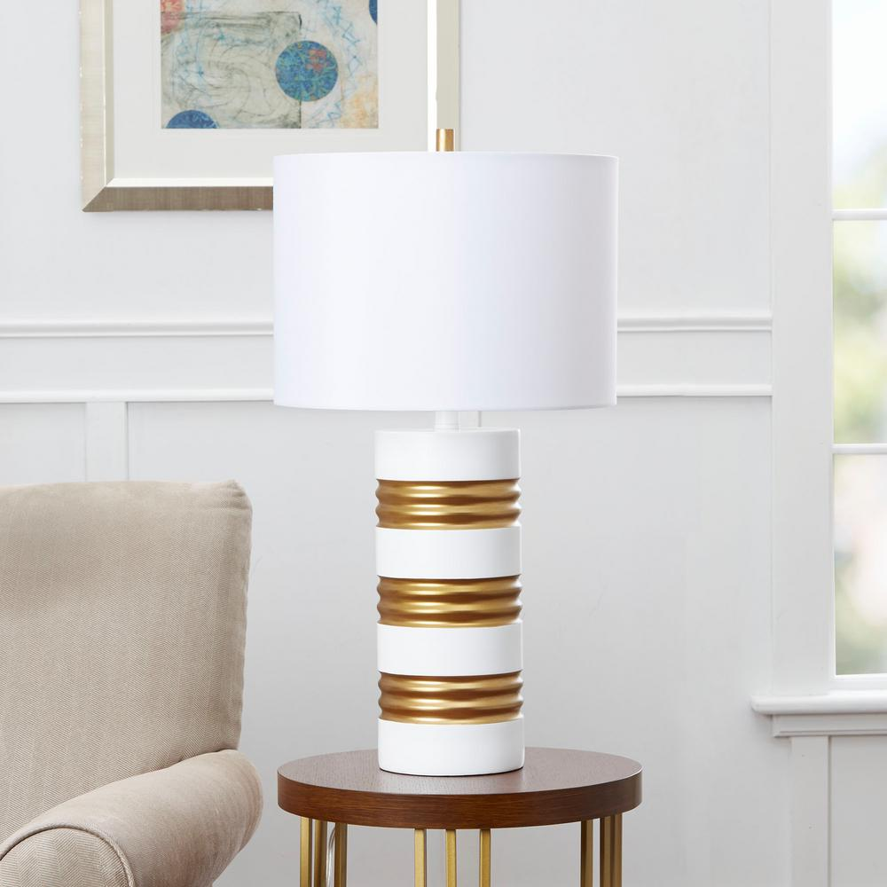 White And Gold Table Lamp With Linen Shade