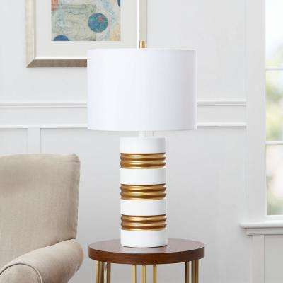 Chloe 26 in. White and Gold Table Lamp with Linen Shade