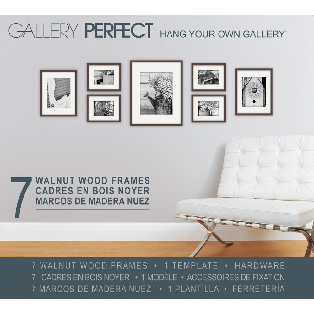 Pinnacle Gallery Perfect 7 Piece Wall Frame Set Walnut