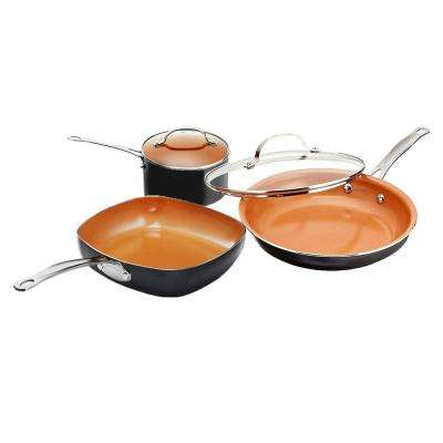 5-Piece Non-Stick Ti-Ceramic Cookware Set with Square Pan and Lids
