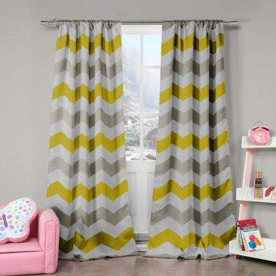Fifferly 78 in. W x 84 in. L Polyester Window Panel in Grey-Yellow-White