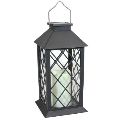 11 in. Concord Black Solar LED Candle Outdoor Lantern