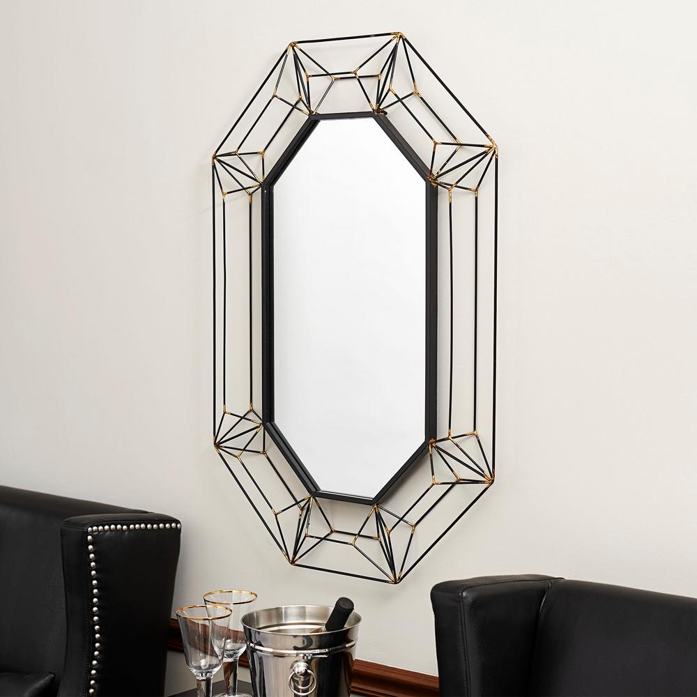 Household Essentials Large Oval Wall Mirror In Black Metal