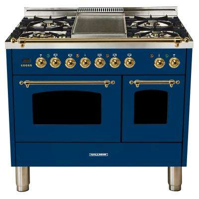 40 in. 4.0 cu. ft. Double Oven Dual Fuel Italian Range True Convection, 5 Burners, Griddle, LP Gas, Brass Trim in Blue