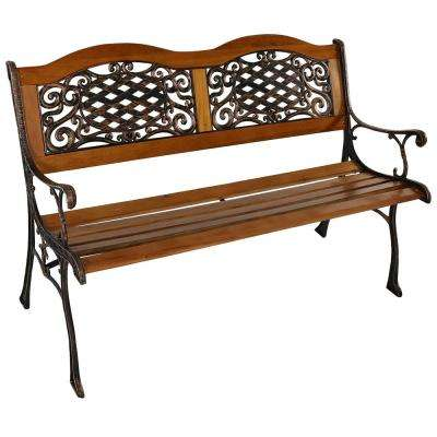 Ivy Crossweave 2-Person Black Cast Aluminum Wood Outdoor Bench