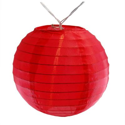 Battery Operated Red String Light with 6 in. Nylon Lanterns (10-Count)