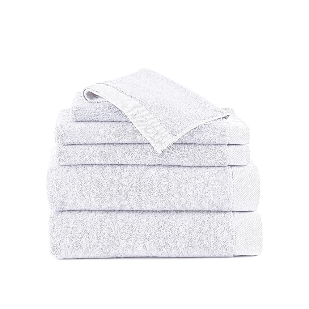 IZOD Classic 6-Piece Cotton Bath Towel Set in Optical White 079465022568