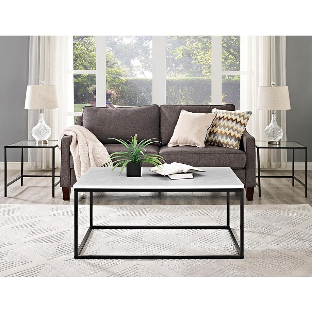 Walker Edison Furniture Company Jordan Marble Finish 42 In Coffee Table Hd42lwsqmb The Home Depot