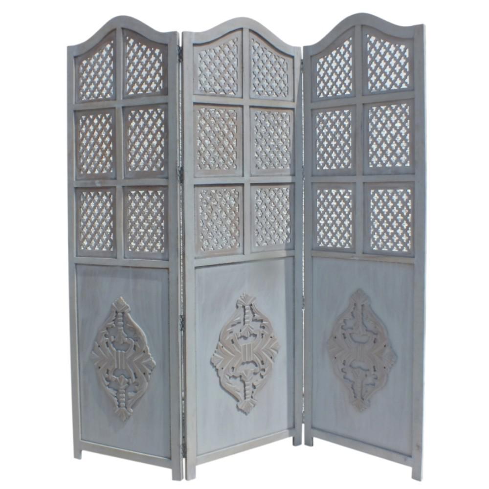 Blue 3-Panel Foldable Room Divider