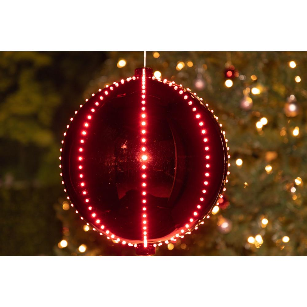 Hanging Christmas Decorations.Alpine Corporation Xmas Ball Ornament With 240 Chasing Led Lights Plug In