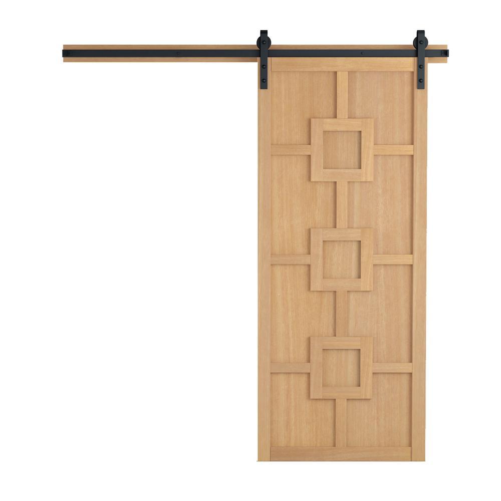 42 in. x 84 in. Mod Squad Sands Wood Barn Door with Sliding Door Hardware Kit