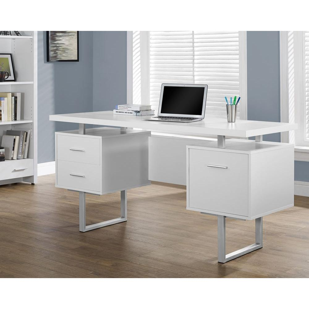 Monarch specialties white desk with drawers